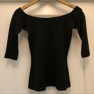 Betsy Johnson, Black, Off-Shoulder, 3/4 Sleeve Top